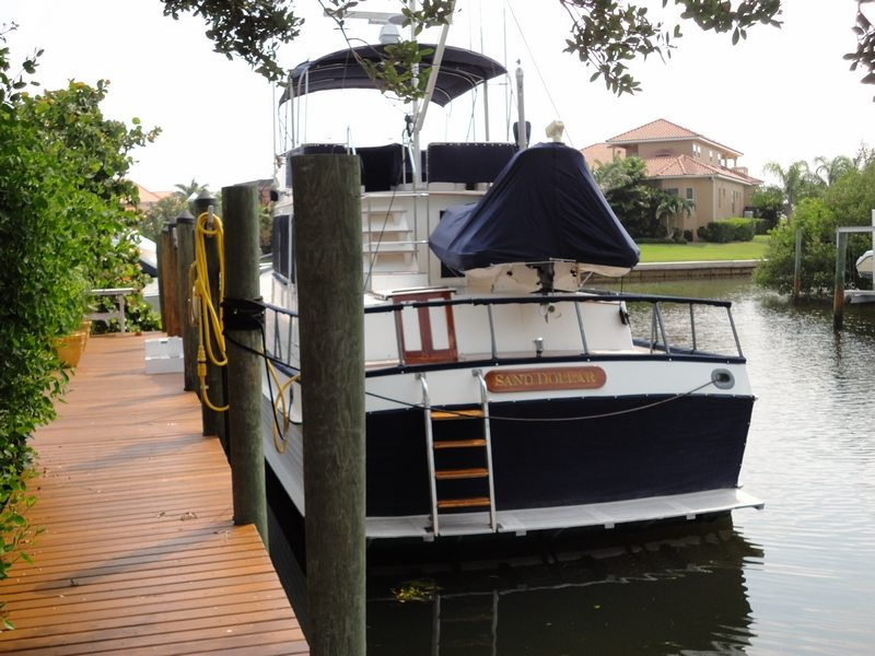 49 Foot GrandBanks Aft View With New Canvas