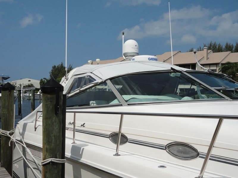 Custom Bimini And Extension Panels On 50ft SeaRay Cortez FL