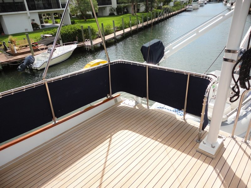 Dingy Winch Cover & Bridge Spray Curtains On 49 Foot Grand Banks