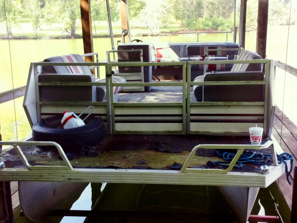 Pontoon Boat BEFORE Carpet and Upholstery Refit