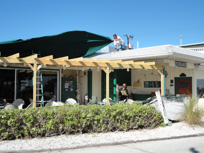 Restaurant Canopy Being Installed